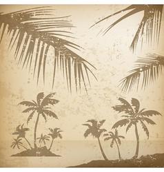 Palms grunge background vector image