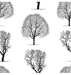 Pattern of two trees silhouettes vector