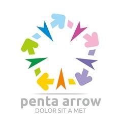 penta arrow colorful design icon symbol vector image