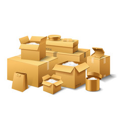 pile of realistic stacked cardboard box brown vector image