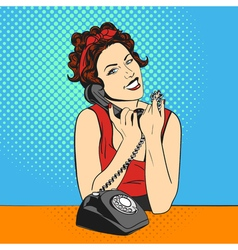 Pop art beautiful young woman with telephone Retro vector