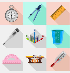 Precise laboratory instruments icons set vector