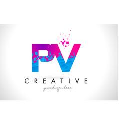 pv p v letter logo with shattered broken blue vector image