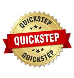 Quickstep 3d gold badge with red ribbon vector
