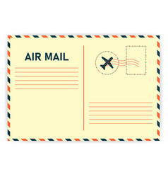 Realistic retro air mail on white background vector