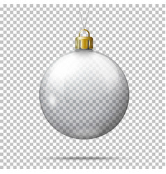 Realistic transparent christmas ball vector