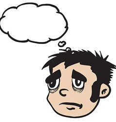 sad boy with thought bubble vector image