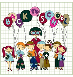 schoolchildren and their teacher vector image