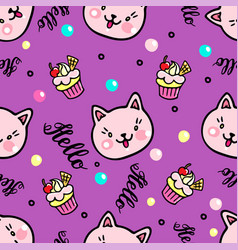 Seamless pattern with kittens and muffins vector