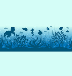 seamless underwater background with fish vector image