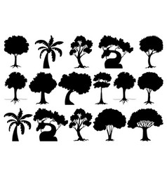 set isolated tree vector image