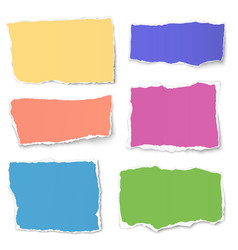 set of colour paper tears isolated on white vector image