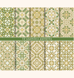 set of seamless oriental patterns vector image