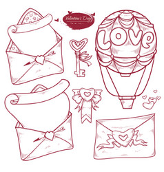 set valentines day hand drawn variants of the vector image