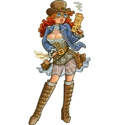 Sexy Steampunk Gunslinger vector