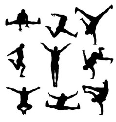 silhouette a modern male dancer vector image