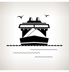 Silhouette cargo ship on a light background vector image