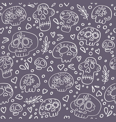 skulls seamless pattern day dead vector image