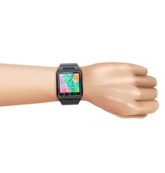 Smart Watch Realistic On Hand vector