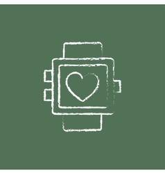 Smartwatch with heart sign icon drawn in chalk vector
