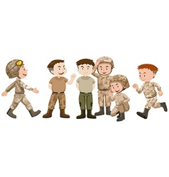 Soldiers in brown uniform vector image