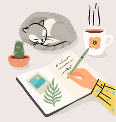 Stay at home woman writes a diary at home vector
