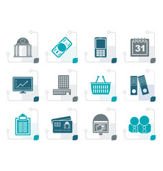 stylized business and finance icons vector image