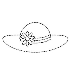 summer female hat with flowers vector image