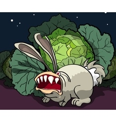 The enraged rabbit guards cabbage vector