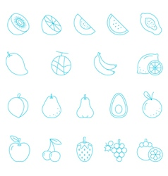 Thin lines icon set - fruit vector image