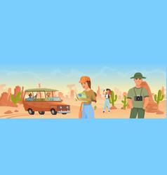 tourist people travel in arizona wild west desert vector image