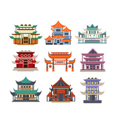 traditional pagoda buildings set asian vector image