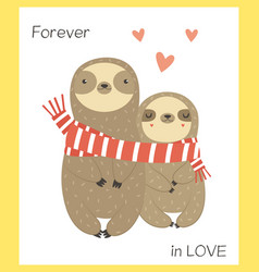 two funny sloth in love wrapping in scarf vector image