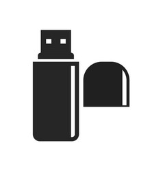 usb flash drive with lid bold black silhouette vector image