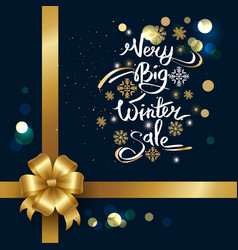 Very big winter sale inscription on snowflakes vector