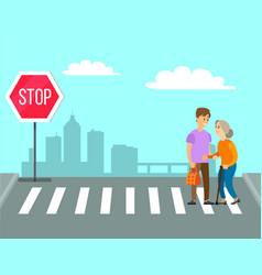 Volunteer helps granny to cross road on pedestrian vector