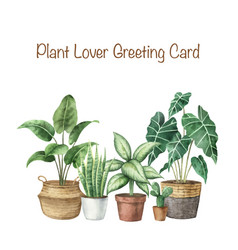 Watercolor set with home plants in ceramic vector