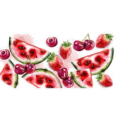 Watermelon and cherry watercolor texture vector