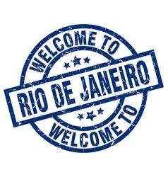 Welcome to rio de janeiro blue stamp vector