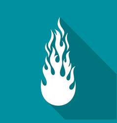 White fire flame flat icon vector