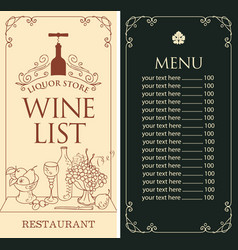wine list menu for liquor store with bottle and vector image