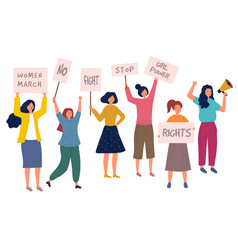 woman protest female crowd with placard politics vector image