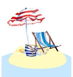 Beach chair on island vector