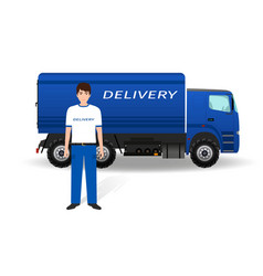 Delivery employee in uniform and company truck on vector