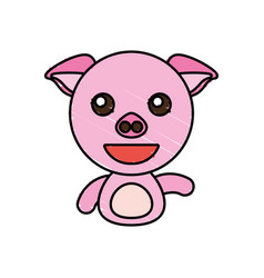 draw piggy animal comic vector image vector image