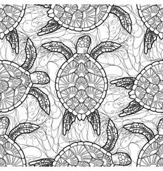 Hawksbill sea turtle pattern vector image vector image