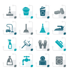 stylized cleaning and hygiene icons vector image vector image