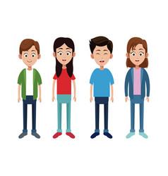 group children little family vector image