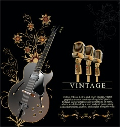guitar and microphone vector image vector image