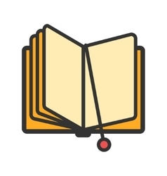 Open book with bookmark icon vector image